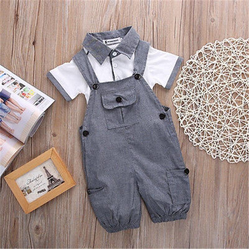 2 STÜCKE Set Baby Kleinkind Kinder Jungen Kleidung T-shirt Tops + Pants Outfits Overall Säuglingsbodysuit Kleidung Baby-kleidung