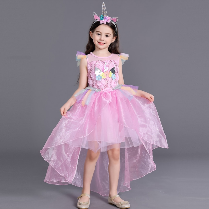 Moda Para chicas niños arco iris de unicornio princesa Tutu vestido de baile niños Halloween unicornio caballo Cosplay disfraz largo vestido de fiesta