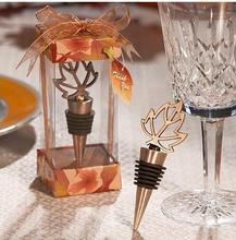 Bouchon de bouteille en bronze automne en amour   80 pièces/lot faveurs de mariage, bouchon de feuilles dérable, livraison gratuite DHl