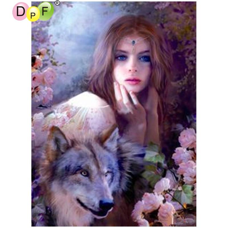 DPF The women and the Wolf needlework diamond mosaic square home decor diamond embroidery diamond painting cross stitch crafts