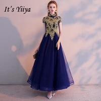 its yiiya evening dress vintage gold lace embroidery party dresses elegant blue zipper long formal gown for women e021