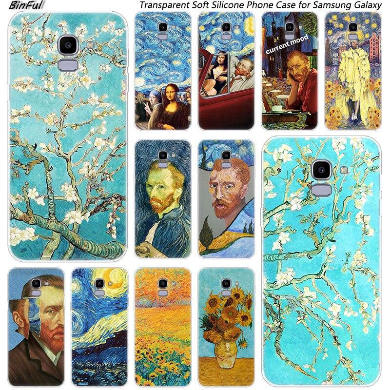 Noche Estrellada de Van Gogh de silicona suave funda para Samsung Galaxy J8 J6 J4 2018 J2 Core J5 J6 J7 primer J3 2016 de 2017 de la UE J4 Plus cubierta