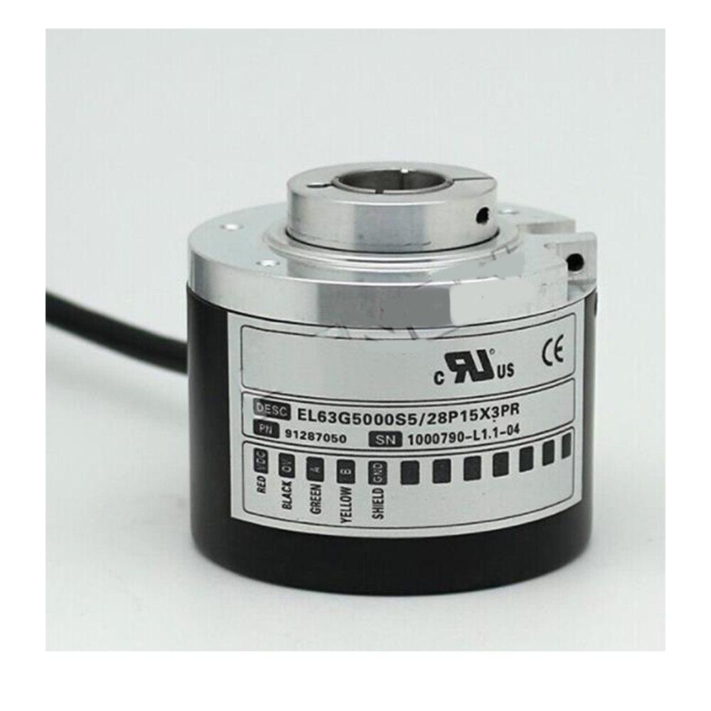 new el58b1024z5 28n10x3ma eltra rotary encoder 6mm solid shaft 1204 pulse npn interface incremental encoder Eltra Optical rotary encoder EL63G5000S5/28P15X3PR 5000 P/R 15mm hollow shaft 1.5M cable IP54 incremental encoder