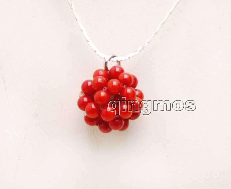 Большой красный Натуральный Коралл, 18-20 мм, 4-5 мм, ручная работа, круглый шар, подвеска с серебряной цепочкой, 17 дюймов, Necklace-nec6202