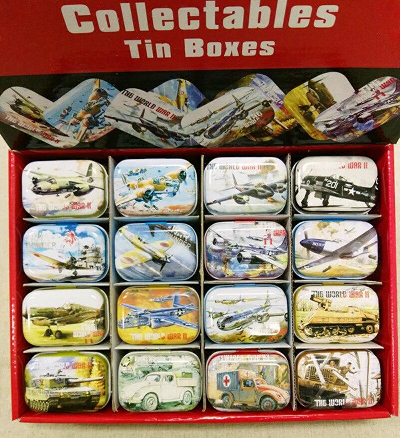 Caja de lata de diseño militar de 32 unidades, Mini caja de Metal para ahorro de monedas, caja pequeña para coleccionar, pastillero, caja de bombones de 16 diseños GD20