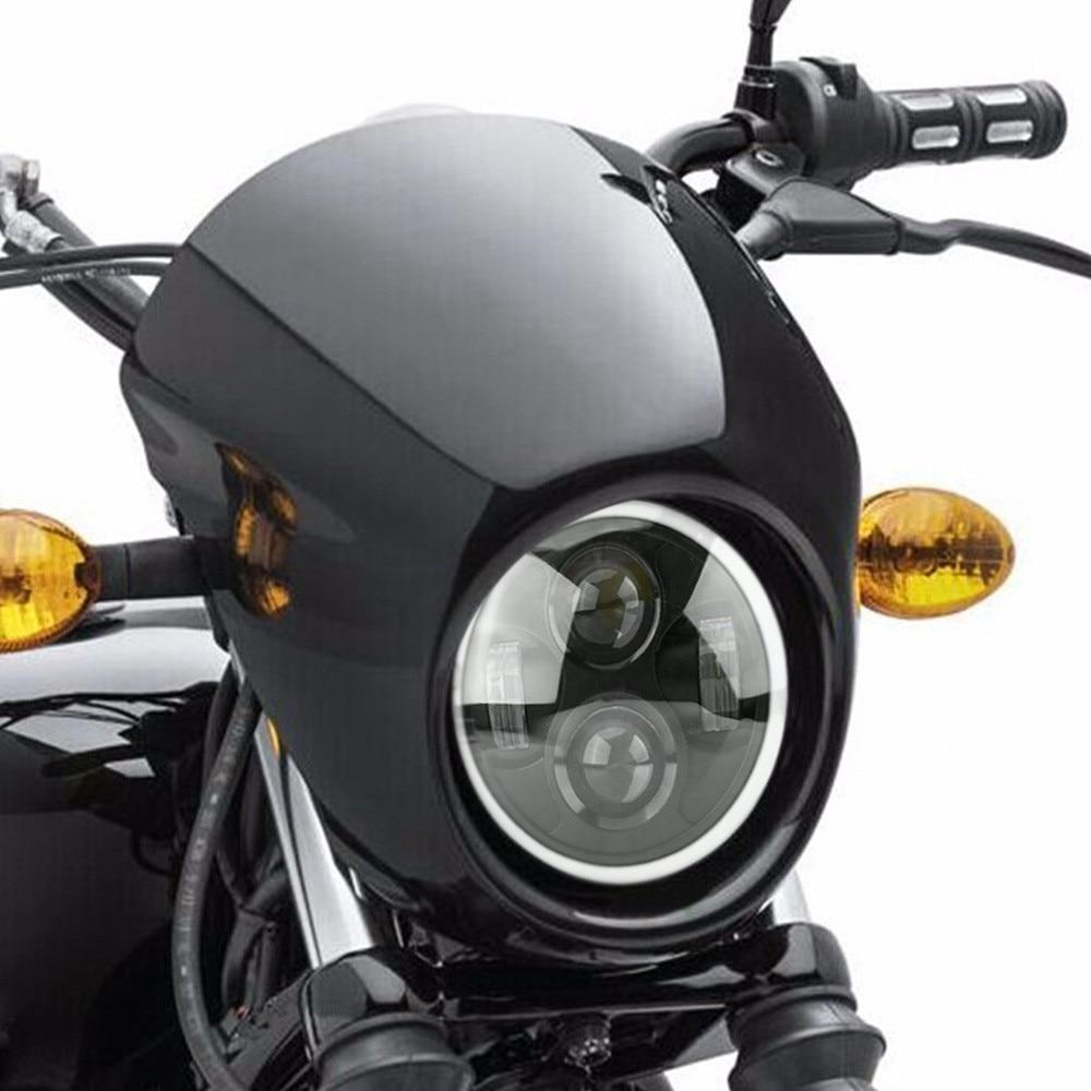 6,5 En motocicleta Universal Negro/cromo redondo LED faro Hi Low Beam Cafe Racer