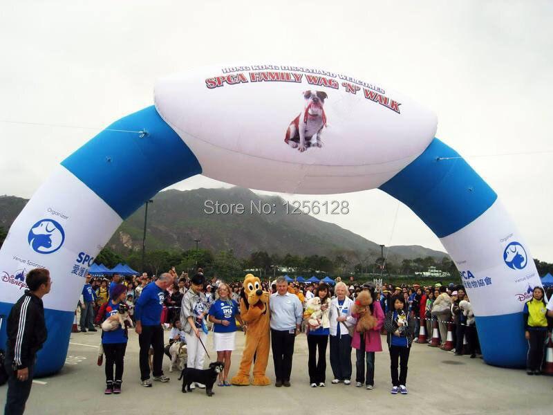 Arco de cartel inflable al por mayor blanco y azul, logo/texto en la parte superior para eventos