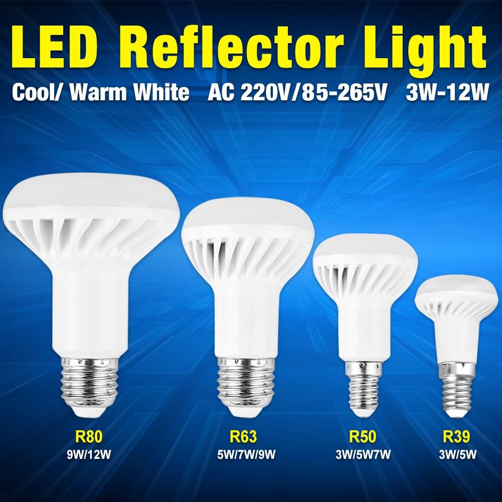 R39 R50 R63 R80 lámpara LED E14 E27 Base bombilla LED 3W 5W 7W 9W 12W paraguas led luz blanca cálida luz led AC 220V 85-265V