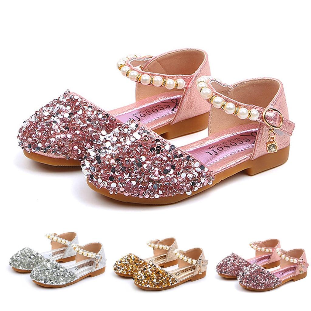 Girls shoes Toddler Infant Kids Baby Girls Pearl Bling Sequins Single Princess Shoes HOOLER