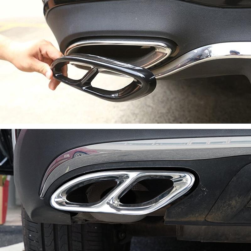 2 uds pieza de coche para Mercedes Benz GLC C Clase E C207 Coupe 2014-2017 W212 W213 W205 X253 C180 C200 negro brillante de acero