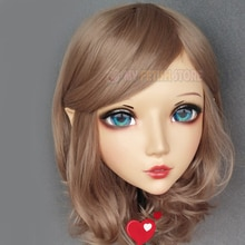 (Er-02) vestido cruzado de resina de media cabeza Kigurumi BJD Eyes Cosplay Anime japonés máscara de Lolita con orejas de hada