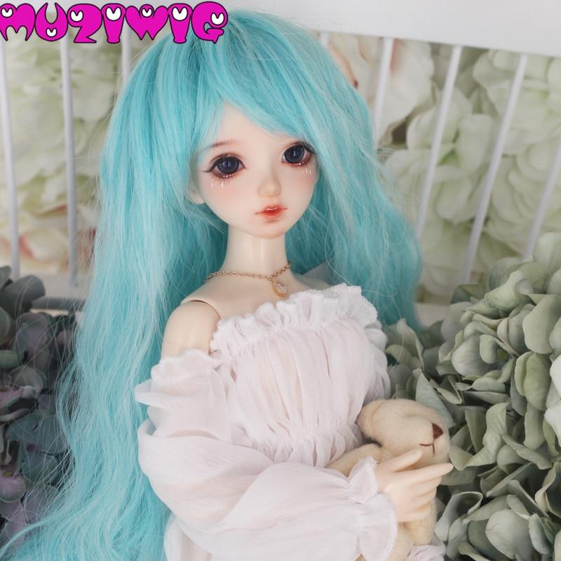 Peluca de pelo de muñeca BJD de onda larga verde brillante de fibra de alta temperatura de Corea Envío Gratis para 1/3 1/4 1/6 para elegir en venta