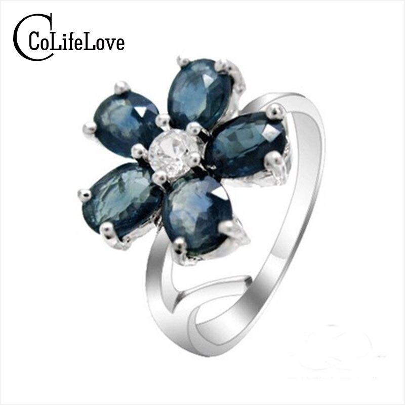 Anillo de piedra de septiembre 925 anillos de plata pura anillo de piedra de zafiro anillo de estilo de flor