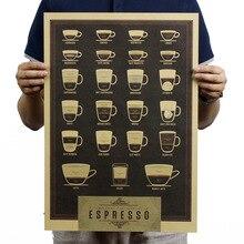 Итальянский кофе эспрессо, схема совпадения, винтажный крафт-бумага, Постер, карта, школьный декор, наклейки на стену, художественные поделки, Ретро Декор, печать