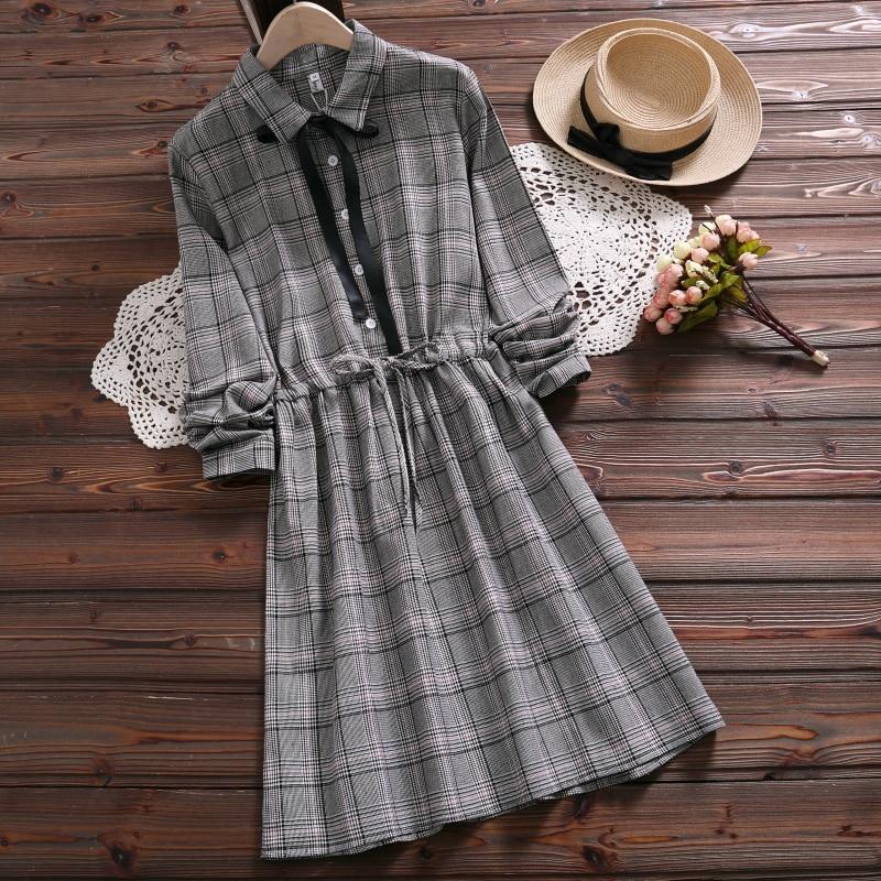 Mori menina casual vestido 2019 novo design de moda primavera de manga comprida vestido xadrez cinza para as mulheres