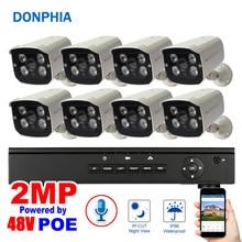 Système de sécurité Audio à 8 caméras   1080P, POE, enregistrement vocal de 48V, Vision nocturne étanche, système de Surveillance 2 mp, Kit NVR pour lextérieur