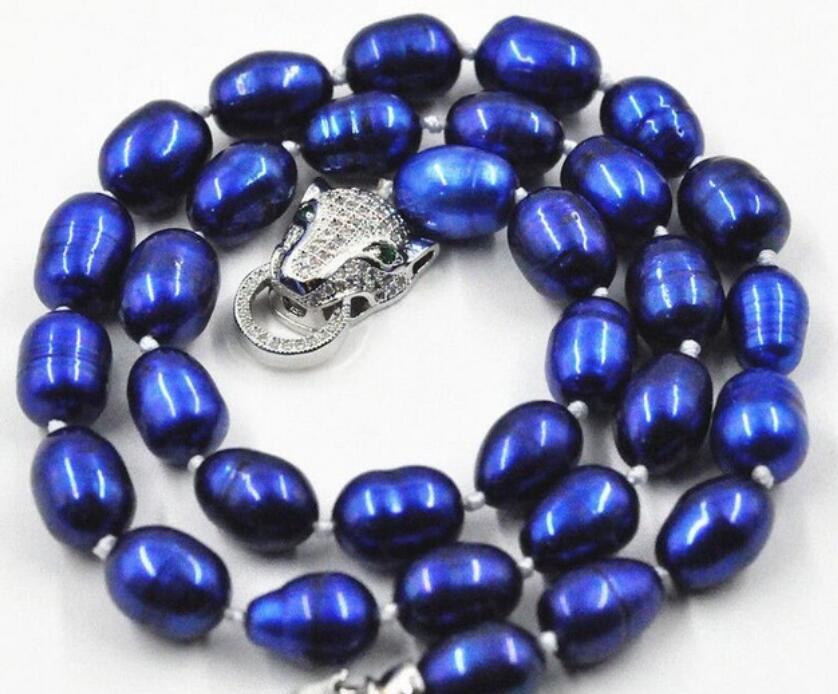 "Hermoso nuevo collar de perlas azul cultivadas en agua dulce de 7-9mm 18 ""broche de leopardo"