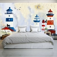 tv background wall paper living room hand painted non woven special offer mural european 3d stereo mediterranean lighthouse