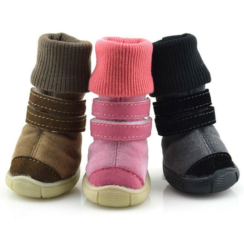 XS-XL Pets Winter Shoes Warm Anti-slip Soft Leather Cashmere Waterproof Warm Booties Boots Belt Decoration Dog Winter Shoe