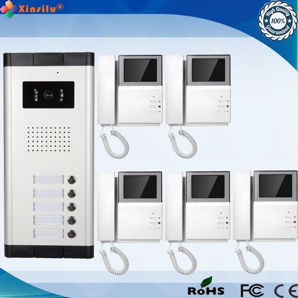 Teléfono de puerta de vídeo intercomunicador con cable de 4,3 pulgadas con 5 monitores