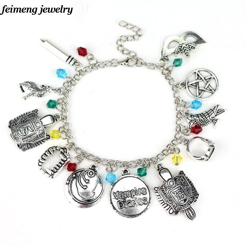 Drop Shipping Vampire Diaries Charm Bracelet inspired Charm Bracelet Elena Stefan Damon Best Gift For Women Top Grade Brace lace