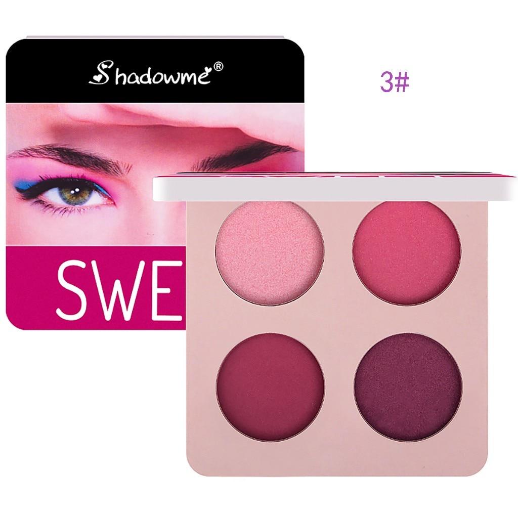 Paleta de sombra de ojos mate de 4 colores con purpurina pigmentos de polvo Nude, bálsamo de maquillaje para ojos, paleta de sombras de ojos cosmética brillante *