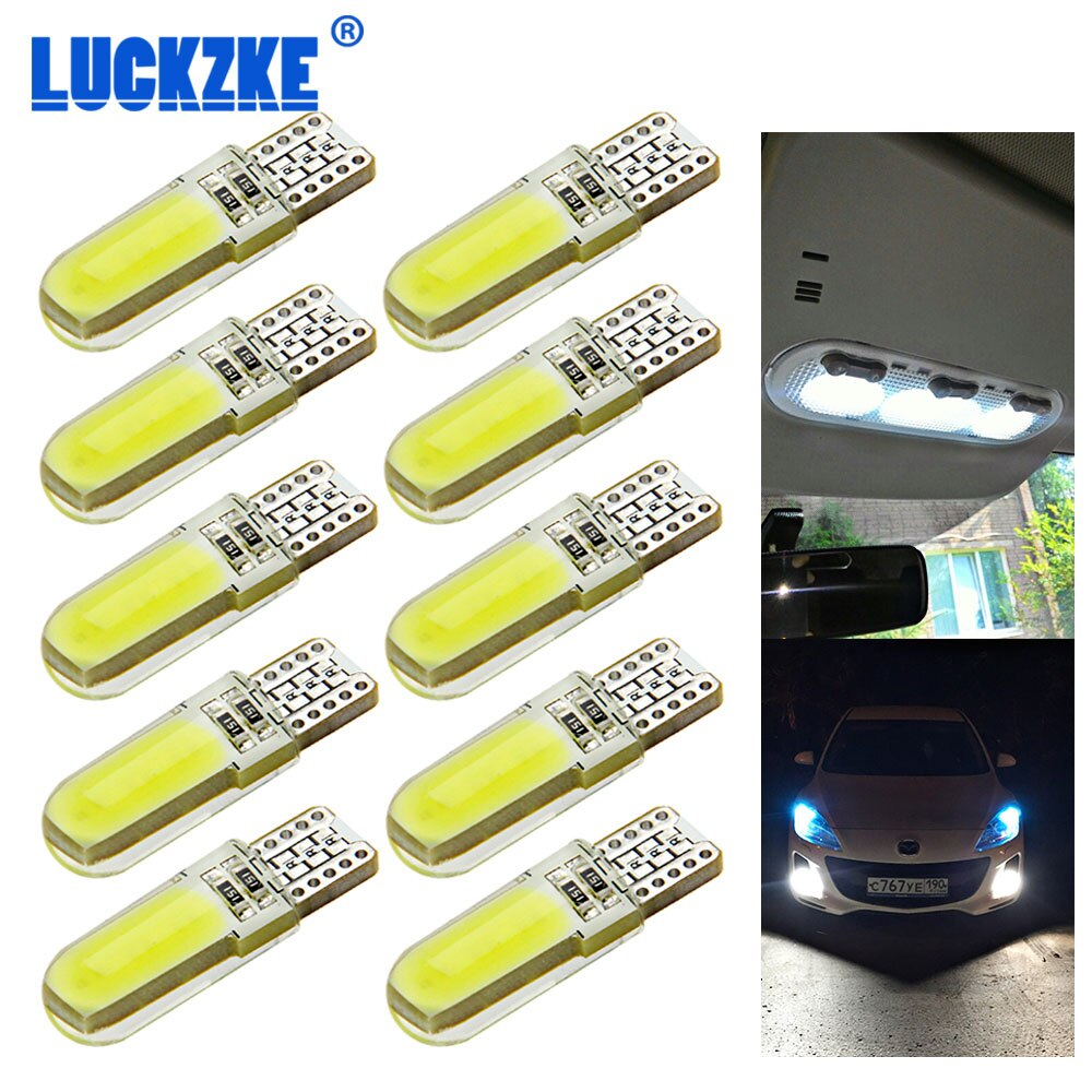 10 Uds T10 W5W LED silicona caso Chips COB luz Interior del coche 12V 12V 194 de 501 bombilla de estacionamiento de cuña lateral Canbus auto estilo