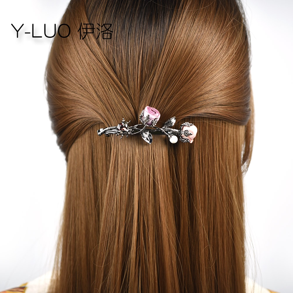 Girls headwear romantic rose flower hair clip for girls vintage hair barrettes rhinestone hair accessories for women