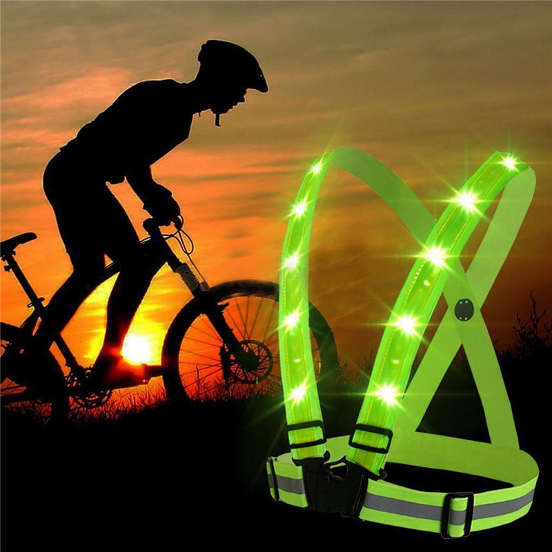 Sport Night Running LED Lights Cycling Flashlight Roadway Safety Warning USB Charge Chest Lamp Strap Reflective Vest Safety Suit