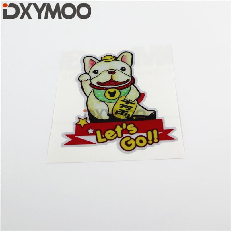 Perro de la suerte japonés Bulldog Lets Go motocicleta bicicleta pegatinas coche estilismo vinilo cinta parachoques 10x8.3cm