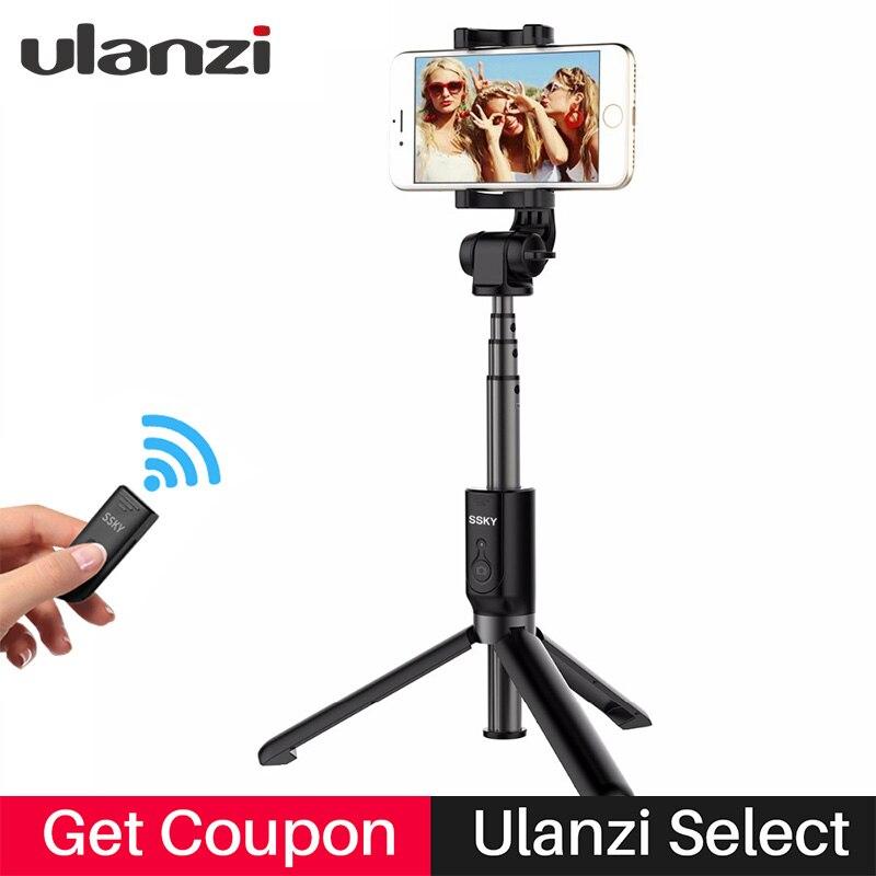 Ulanzi Bluetooth trípode Selfie Stick Control remoto extensible Monopod trípode para iPhone X Samsung Android Vertical disparar