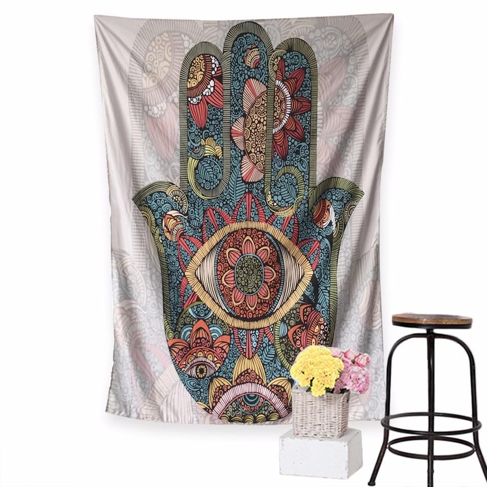 Hamsa tapiz de mano Mandala indio Floral tapiz colgante de pared para colcha psicodélica para el hogar Yoga decoración de fondo