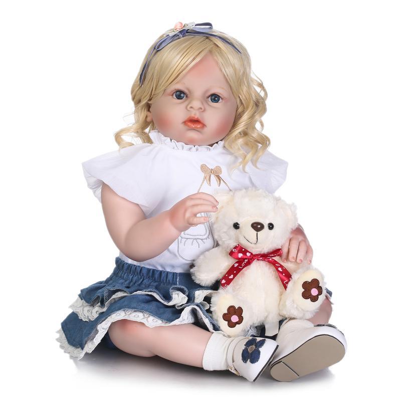 Realista 70 CM de silicona renacer muñecas desgaste Bebé Ropa de muñecas grandes ojos chica rubia juguete Boneca modelo cumpleaños bebe regalos