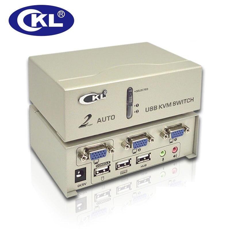 CKL 2 puertos USB VGA KVM interruptor compatible con escaneo automático de Audio con Cables, ordenador Monitor teclado ratón DVR NVR cámara web Switcher CKL-82UA