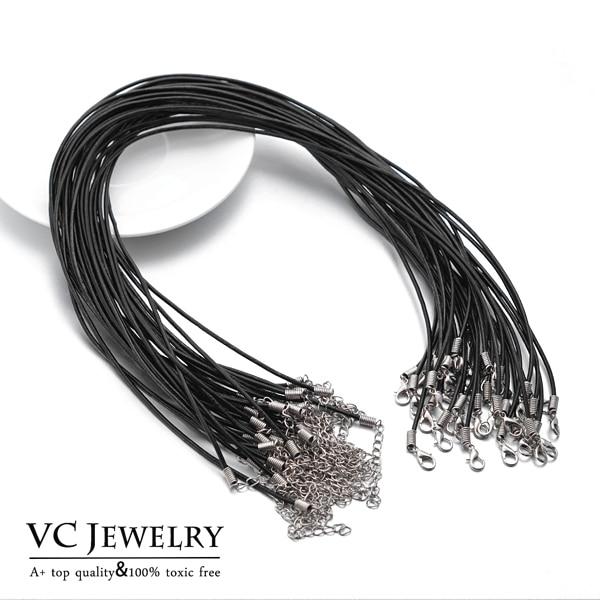 Venta al por mayor, 10 unids/lote, cuerda intercambiable de cuero de vaca de 45 cm, cuerda para collar, accesorios de joyería, VC-011 * 10, envío gratis