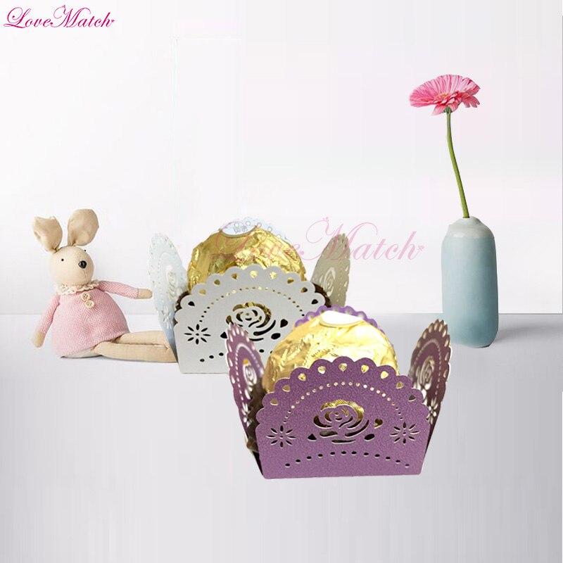50 unids/lote caja de Bar de caramelo cortado al láser con lunares rosas para fiesta de bodas, barra de Chocolate, Baby Shower, caja para dulces de fiesta, suministros de recuerdos de boda