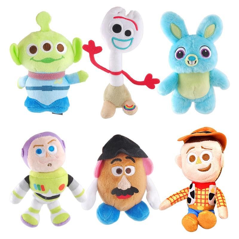 Disney-muñeco de peluche de Pixar Toy Story 4 para niños y niñas, muñeco de juguete de peluche de felpa con cabeza de patata, Forky, Woody, conejo, Alien, Buzz Lightyear