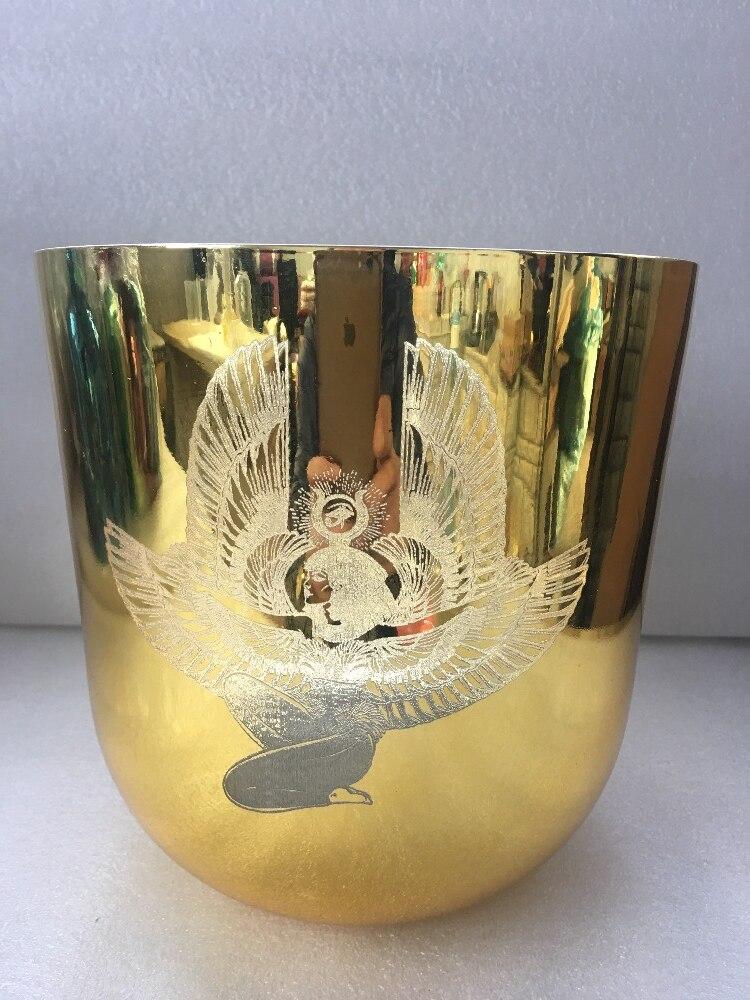 Alchimie doré 3th octave parfait C note racine chakra C # note sexuel chakra cristal chantant bol avec ISIS sculpté environ 8.5