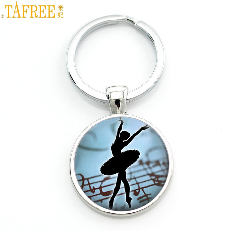 TAFREE vintage Ballerina silhouette art men women keychain fashion Degas Dancers dance bag pendant key chain ring holder CT140
