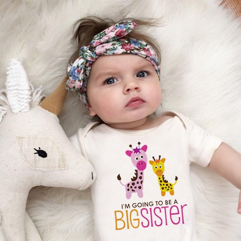 Ropa de bebé DERMSPE informal de manga corta con estampado de letras Im Going To Be A Big Sister Pelele de jirafa para recién nacido
