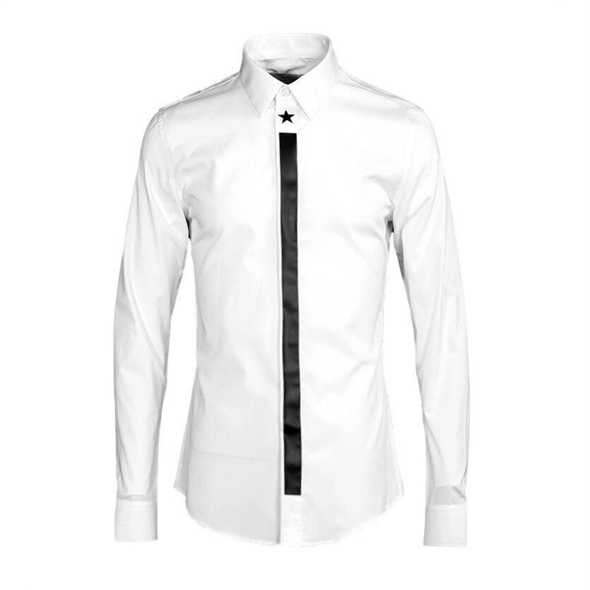 قميص رجالي أبيض بأكمام طويلة ، ملابس ربيعية غير رسمية ، جودة عالية ، مريحة ، تصميم جديد