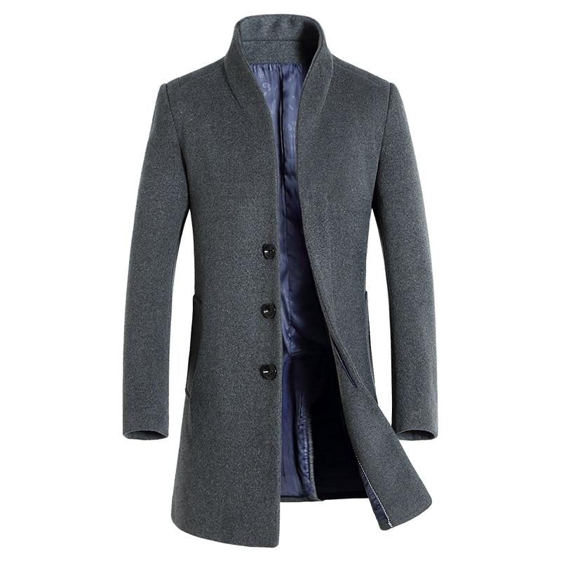 2019 Otoño e Invierno nueva moda para hombres Boutique de lana de Color sólido Casual abrigo largo de lana rompevientos masculino abrigos de cuello alto