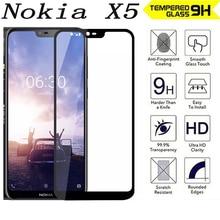 2.5D 9H Premium full Tempered Glass For Nokia X5  5.86