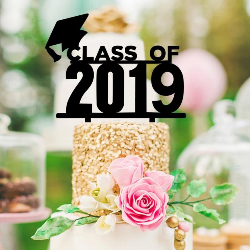 Cumpleaños de la torta de graduado de la clase negra de 2019 Topper de la torta para la graduación de la escuela secundaria del graduado universitario