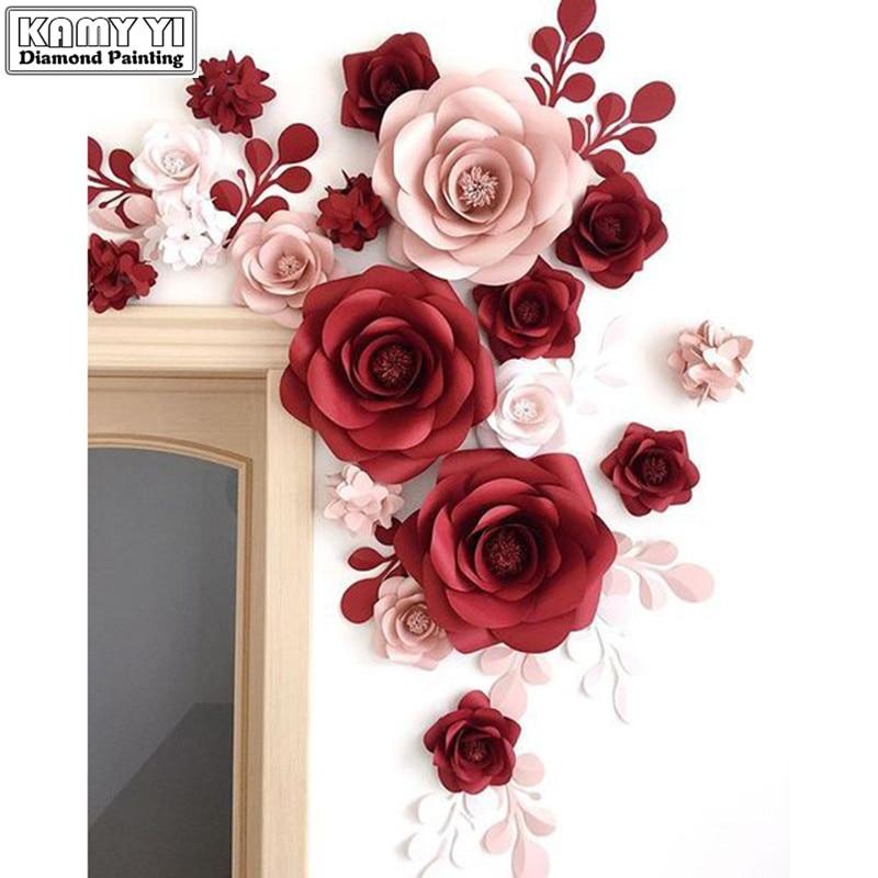 5D diyのダイヤモンド塗装赤ピンクローズダイヤモンド刺繍フル平方ラインストーン刺繍家の装飾ダイヤモンドモザイクXY1