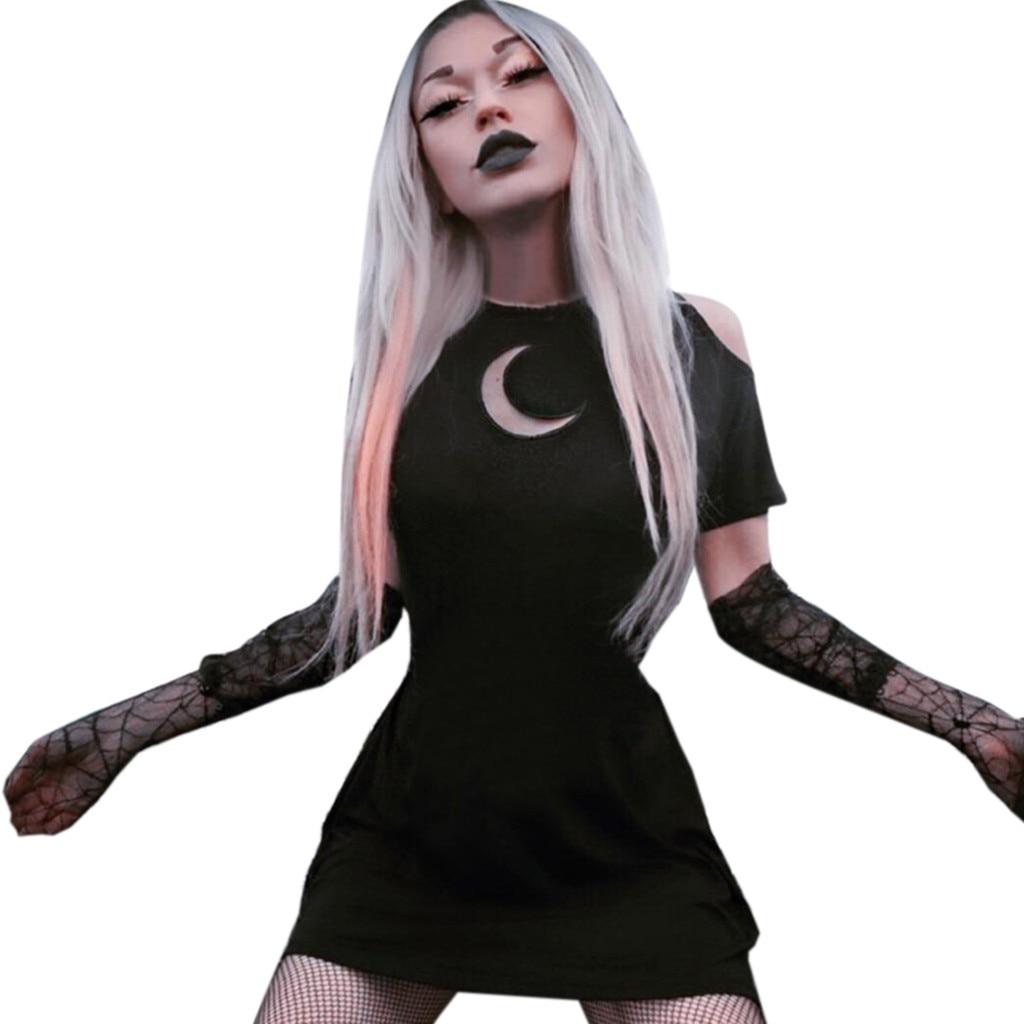 Womens Fashion Gothic Style Punk Black Retro Off Shoulder Moon Hollow Out Dress bandage sukienka letnia vestido verano mujer