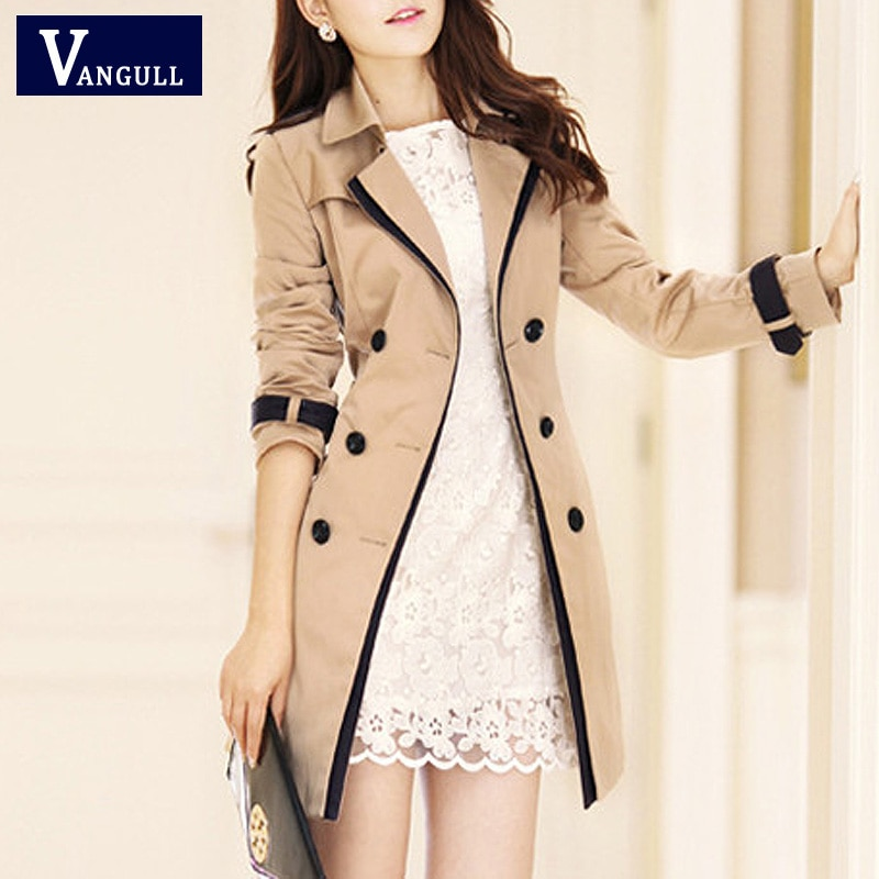 Vangull Fashion Women Thin Trench Coat Turn-down Collar Double Breasted Patchwork spell color Trench