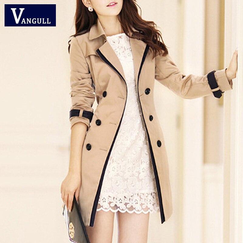 Vangull moda feminina fino trench coat turn-down collar duplo breasted retalhos feitiço cor trench fino plus size vento casaco