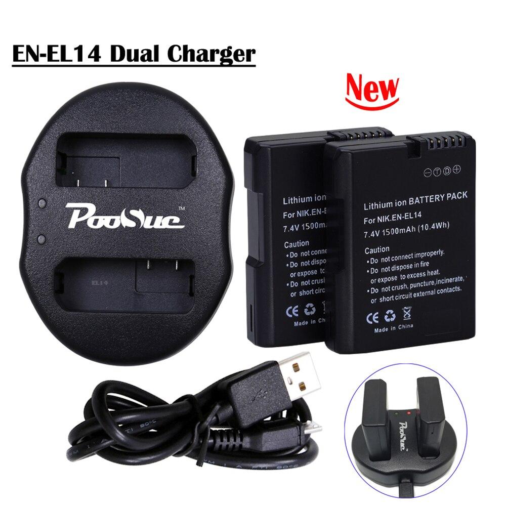 Батарея EN-EL14 EL14A EN-EL14a ENEL14 EN EL14 камера Аккумулятор + USB двойное зарядное устройство для Nikon D3100 D3200 D5300 D5100 D5200