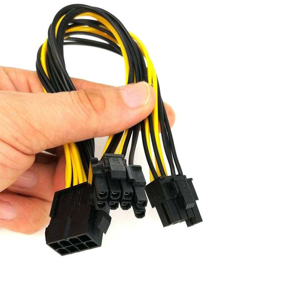 PCI-E PCIe PCI Express, adaptador macho de 6 pines hembra a doble puerto de 2 pines 8 pines (6 + 2 pines), Cable de alimentación para tarjeta de vídeo, Cable 18AWG Wire1031